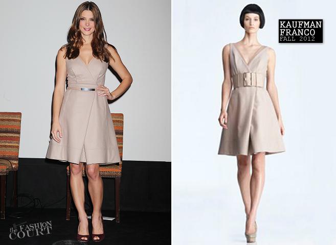 """Эшли Грин в платье от Кауфманфранко на пресс-конференции """"Как по маслу"""""""
